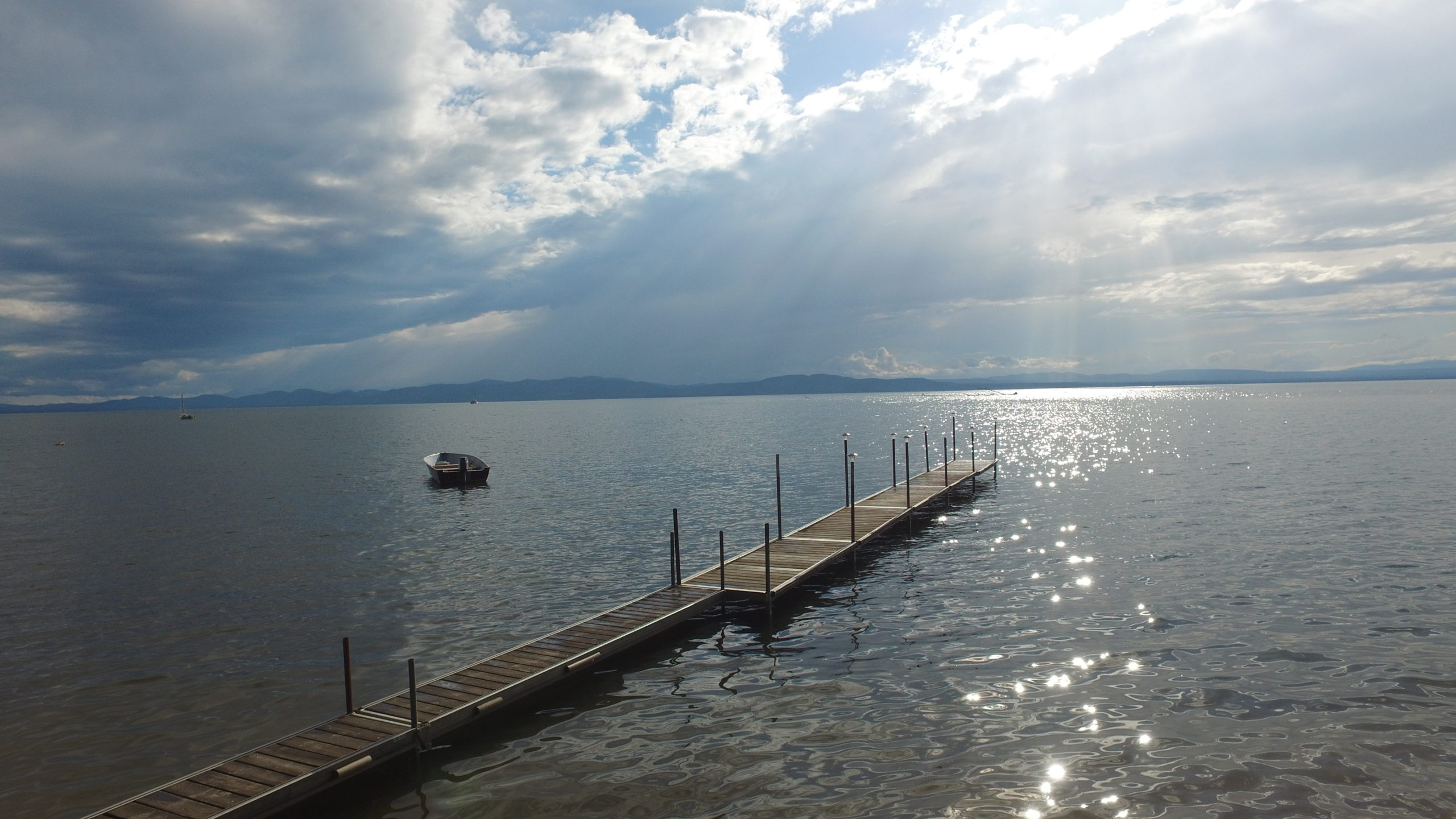 View of the widest section of Lake Champlain from the Auer Family Boathouse